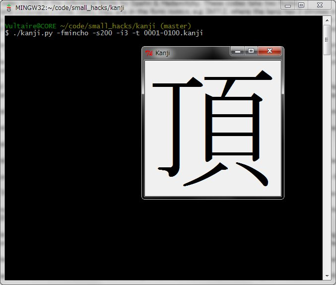 """Kanji,"" with corresponding command line."